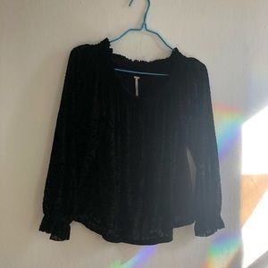 Free People black velvet off the shoulder top